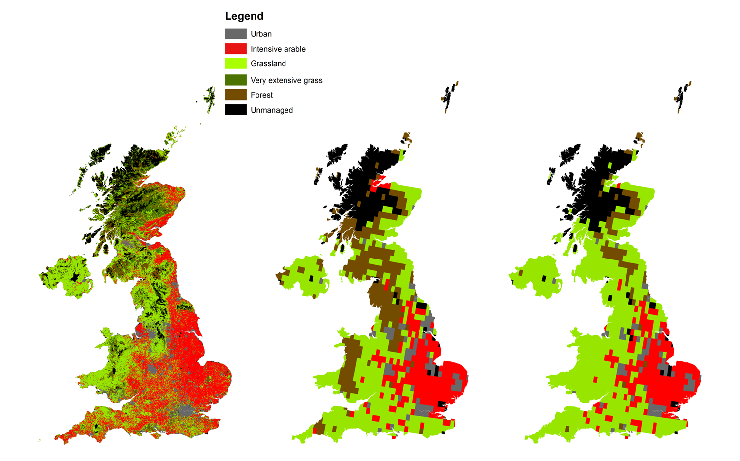 (Left): Observed CORINE land use, (middle): Model simulated land use for the baseline period (majority land use type for each grid cell shown), (Right): Model simulated land use with 20% decrease in precipitation