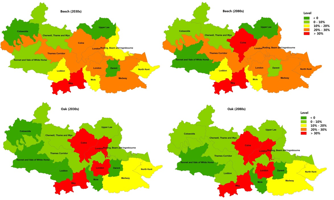 Vulnerability levels of beech and oak in the Thames Basin to drought relative to baseline.